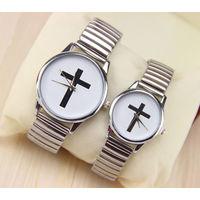 Часы наручные кварцевые, c крестом. браслет металлический под серебро.  распродажа