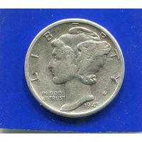 США 10 центов 1945 , серебро , Mercury Dime