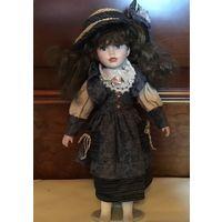 Кукла Коллекционная в соломенной шляпе Фарфово-набивная Германия 40 см