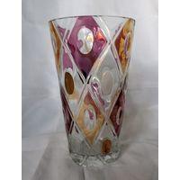 Оригинальная ваза с ромбами и овалами. Чехия. Перламутр, позолота