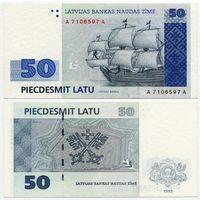 Латвия. 50 лат (образца 1992 года, P46, XF)