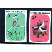 Мальдивы. Ми-712-713.Птицы.Фрегат,Краб-ржанка.1977.