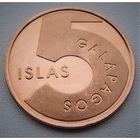 """Галапагосские острова. 5 песо 2008 год """"Тюлень"""" Unusual"""