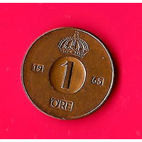 09-15 Швеция 1 эре 1965 г.