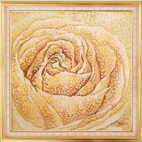 Картина на шелке. Сахарная роза. Батик.