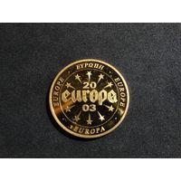 """Монета медаль """"Валюты стран еврозоны"""". Словакия 2003. """"Европа"""". Крона."""