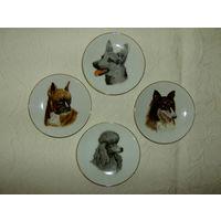4 Настенные тарелочки, панно. Собачки.