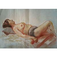 Лежащая обнаженная, рисунок пастелью