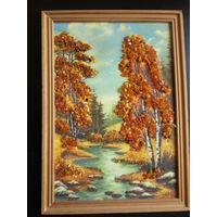 Картина из янтаря Берёзы 32х23 см, немного побит уголок рамки