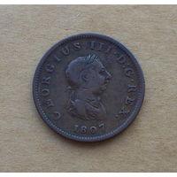 Великобритания, Георг III (1760-1820), полпенни 1807 г.