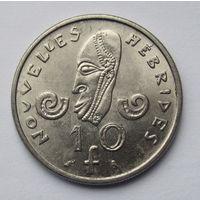 Новые Гебриды 10 франков 1973