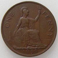 Великобритания, 1 пенни 1939 года, KM# 845