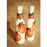 Бутылки декупаж Мандариновые