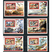 Гвинея - 1991 - Сражения Второй мировой войны - (незначительные пятна на клее номиналов 100 и 300) - [Mi. bl. 387-392] - полная серия - 6 блоков. MNH.