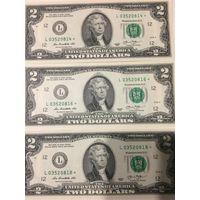 2 доллара США 2013 года со звездой (звездные), 3 банкноты L03520814, L03520816, L03520818