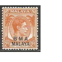 Малайя(Британская военная администрация). Король ГеоргVI. Пальмы. 1945г. Mi#2.