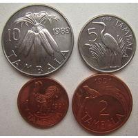 Малави 1, 2, 5, 10 тамбала 1989-1991 гг. Цена за комплект (g)
