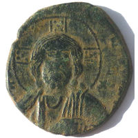 """Византия. """"Иисус Христос - царь царей."""" Анонимный фоллис Василия II Болгаробойца и Константина VIII (976-1028 г.)"""