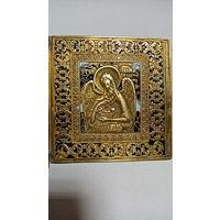 """Складень латунный трехстворчатый триптих """"Деисус"""", 19 век. две эмали"""