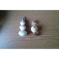 Елочные игрушки (стеклянные) снеговик и цыпленок.