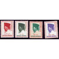 4 марки 1965 год Индонезия Сукарно 474,476,479,486