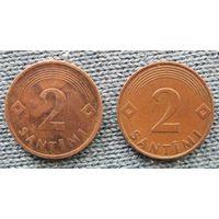 2 сантима Латвии 1992 и 2000г.