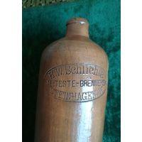 Бутылка H.W. SCHLICHTE Германия, ПМВ, керамика глазурь начало прошлого века, клеймо