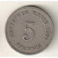 Германия 5 пфенниг 1907 А