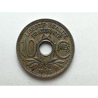 10 сентимо 1918 года. Франция. Монета А2-3-2