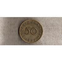Саар Германия 50 франков 1954(редкая)(Nv)