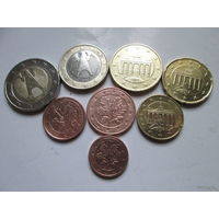 Полный ГОДОВОЙ набор евро монет Германия 2002 D (1, 2, 5, 10, 20, 50 евроцентов, 1, 2 евро)
