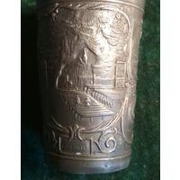 Старая рюмка стакан оловяный из Лурд Франция