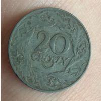 20 грошей 1923 Польша 20 groszy 1923  Цинк.  Немецкая оккупация. В обращении с 1940