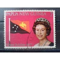 Папуа Новая Гвинея 1977 Гос. флаг, королева Елизавета 2