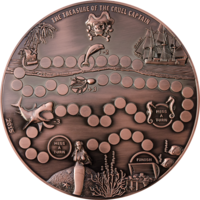 """RARE Палау 5 долларов 2015г. Игра: """"Сокровище свирепого Капитана"""". Монета в подарочном мешочке; фишки; кубик; сертификат; правила игры. Медно-цинковый сплав 680гр. Диаметр 180мм."""