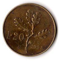 Италия 20 лир 1958