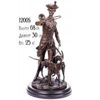 """Бронзовая Скульптура / Статуэтка """"Егерь с Рогом и Гончими"""" Франция, Автор - Pierre Jules Mene. (Нет в наличии, под заказ)"""