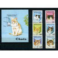 Гвинея 1998г. кошки, 6м. 1 блок