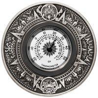 "RARE Тувалу 2 доллара 2017г. ""Термометр: Календарь Ацтеков"". Монета в подарочной рамке; номерной сертификат; коробка. СЕРЕБРО 62,27гр.(2 oz)."