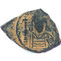 ВИЗАНТИЯ. ЮСТИНИАН I ВЕЛИКИЙ (527-565 г.) 1/2 ФОЛЛИСА.
