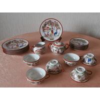 Сервиз чайный фарфор 6 персон 20 предметов ручная роспись Япония середина ХХ века.