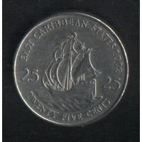 Карибы штаты 25 центов 2002 г. (*). Сохран!!!