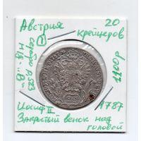 """Австрия 20 крейцеров 1787 года -1, (Разновидность: м/д """"В"""", Иосиф II - Закрытый венок над головой)"""