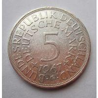 ФРГ. 5 марок 1967 G, Серебро