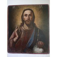 Икона . Исус Христос . 19 век . Шедевр.
