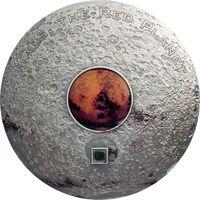 """RARE!!! Острова Кука 20 долларов 2017г. Третья монета серии """"Метеориты"""": """"Марс красная планета"""".  Монета в капсуле, подарочном футляре; номерной сертификат; коробка. СЕРЕБРО 93,311гр.(3 oz)."""