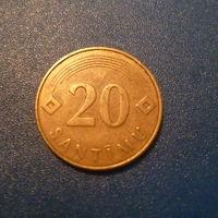 Латвия 20 сантимов 1992г.