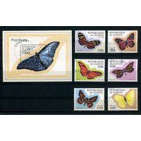 Гвинея 1998г. бабочки, 6м. 1 блок