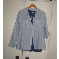 Рубашка в голубую полоску. Лен. 48 р-р
