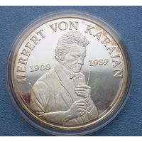Монетовидный серебрянный жетон  Герберт фон Караян